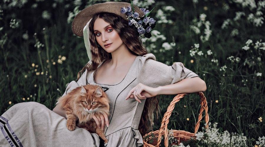 девушка шляпа кошка корзина природа