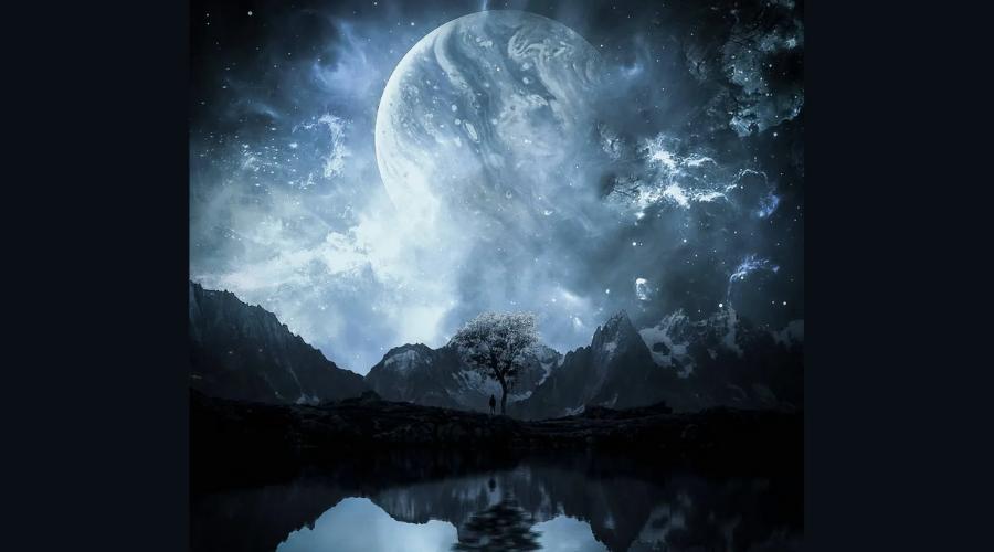 красивая лунная ночь